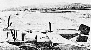 Breguet Aerhydroplane - Low-quality contemporary left-hand-side view. The aircraft's four-bladed propeller is to the left, its tailfin to the right.