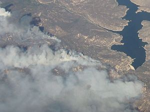 Harris Fire - Aerial view of the Harris Fire on October 23, 2007, at 12:05 PM PDT