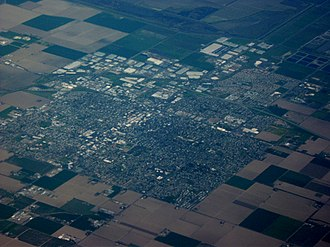 Woodland, California - Aerial view of Woodland from southwest
