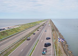 Zuiderzee Works - The 32 km Afsluitdijk separates the IJsselmeer (right) from the Wadden Sea (left), protecting thousands of km² of land.