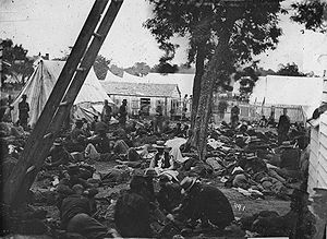Field hospital -  Field hospital after the Battle of Savage's Station (1862).