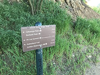 Cahuenga Peak - Trail sign in Griffith Park on the Aileen Getty Ridge Trail.