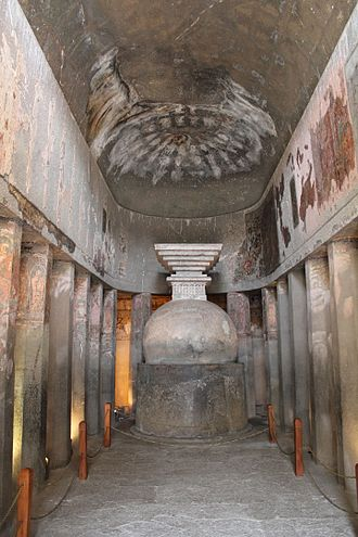 Ajanta Caves - Cave 9, a first period Hinayana style chaitya worship hall with stupa but no idols.