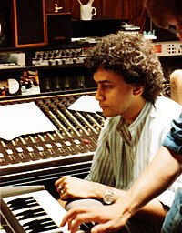 Ajay Mathur during a recording session with Linkmen in Soundville Recording Studio in Lucerne in July 1984