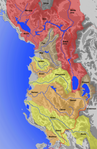 Ishëm (river) - Map with the drainage basins of the Albanian rivers: Ishëm is in the center of the map.