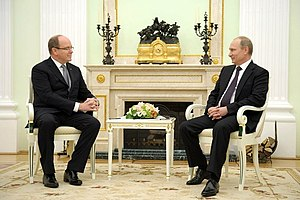 Albert II, Prince of Monaco - Prince Albert with Russian President Vladimir Putin on 4 October 2013.