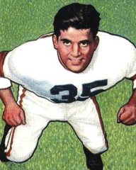 Agase pictured from above in uniform on a 1950 Bowman football card