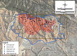 Aliso Canyon Oil Field - Detail of the Aliso Canyon field. Active oil wells are black dots; active gas injection wells are orange dots.