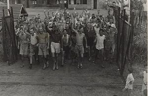 Changi Prison - Allied prisoners of war after the liberation of Changi Prison, Singapore – c. 1945