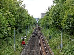 Alterations to Metro Railway line seen from Clayton Road, Jesmond (geograph 3600083).jpg
