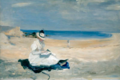 Amaryllis Robichaud as model for The Shore at Dornoch by Charles Conder.png