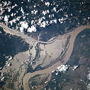 A NASA satellite image of a flooded portion of the river.