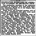American Academy of Dramatic Arts, Graduation Notice (New York Clipper, 26 March 1910, p. 156).jpg