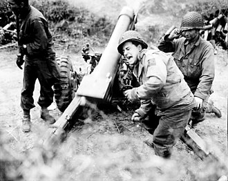 M3 howitzer - M3 near Carentan, France, 11 July 1944.