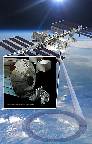 Columbus (ISS module) - One instrument mounted Columbus was ISS-RapidScat, and this graphic shows the location of Columbus and where that instrument was mounted on the Module. The instrument was installed in 2014 and operated until 2016.