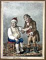An ill man who is being bled by his doctor. Coloured etching Wellcome L0008299.jpg