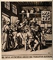 An itinerant surgeon extracing stones from a man's head; sym Wellcome V0016244.jpg