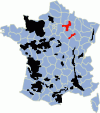 Champagne Riots - The tension between producers in the Marne (highlighted top) and the Aube (to the south) was the source of further rioting as the geographical boundaries of the Champagne region was debated.
