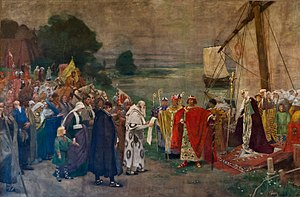Eadgyth - Otto I and his wife Edith arrive near Magdeburg (Hugo Vogel 1898, Ständehaus Merseburg)