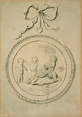 Children at play on a round plate