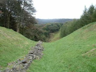 Antonine Wall - The Antonine Wall, looking east, from Bar Hill between Twechar and Croy