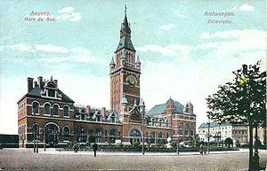 Antwerpen-Zuid railway station - Postcard of 1911, Old station
