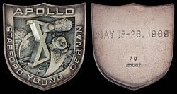 Apollo 10 mission emblem and crew names (front). Flight dates and serial number 70 (back)