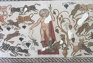 Apollo Sauroctonos - Apollo with a lizard on a string on a mosaic from Roman Africa