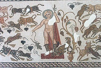 Apollo Sauroctonos - Apollo with a lizard on a string on a mosaic from Roman Africa