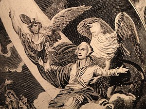 John James Barralet - Detail of the Apotheosis of George Washington by John James Barralet, c. 1800-1805, transfer-printed onto a pitcher by the Herculaneum Pottery, LIverpool.