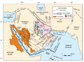 Arabian Plate showing general tectonic and structural features, Infracambrian rift salt basins, and oil and gas fields of Central Arabia and North Gulf area (usgs.gov).png