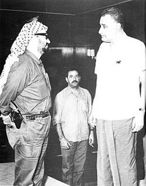 Khalil al-Wazir - Yasser Arafat and Abu Jihad meet Gamal Abdel Nasser upon arrival in Cairo to attend first emergency Arab League summit, 1970