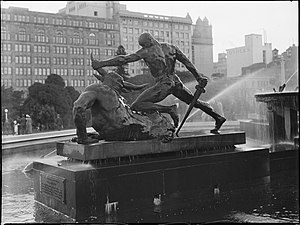 Archibald Fountain - Theseus and the Minotaur sculptural group (1940s)