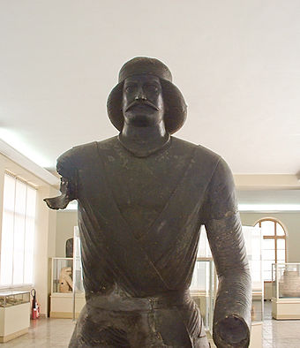 Bronze Statue of a Parthian prince, National Museum of Iran Arm less man edit 3.jpg