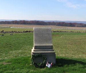 Lewis Armistead - This monument on the Gettysburg Battlefield marks the approximate place where Armistead was mortally wounded. The wall behind the monument marks the Union lines.