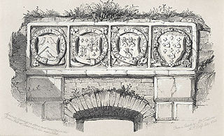 Armorial bearings in stone, now inserted in the Garden Wall at Courtrhyd Hir, near Neath