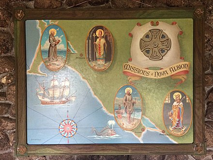 Artwork hanging in Saint Columba's, Episcopal Church and Retreat House in Inverness Park, California, shows the Golden Hind and Episcopal missions at Nova Albion. Artwork in Saint Columba's, Inverness Park, California, showing Episcopal missions at Nova Albion.jpg