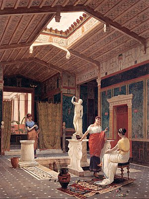 Domus - A late 19th-century artist's reimagining of an atrium in a Pompeian domus