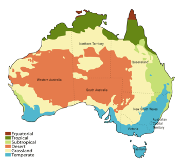 Australia divided into different colours indicating its climatic zones