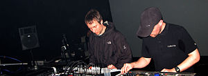 Rob Brown and Sean Booth performing live as Autechre in 2007