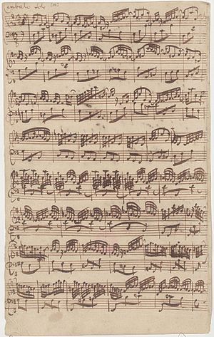 Partitas for keyboard (Bach) - Autograph manuscript (1725) of Allegro for solo harpsichord from first version of Bach's sixth sonata for obbligato harpsichord and violin, BWV 1019a, later incorporated as Corrente in sixth partita, BWV 830.