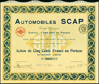 S.C.A.P. - Share of the Automobiles Scap SA, issued 1. June 1921