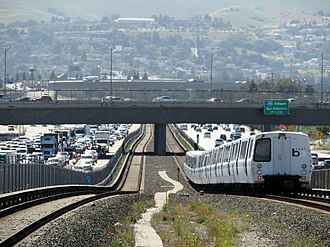 Dublin/Pleasanton–Daly City line - A Daly City bound train in the I-580 median west of Dublin/Pleasanton station in the Tri-Valley