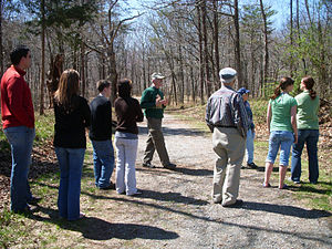 Ball's Bluff Battlefield and National Cemetery - Local battlefield guide conducts a tour at the Ball's Bluff Battlefield and National Cemetery, April 4, 2009.