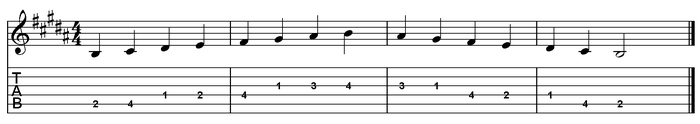 B major scale one octave (open position).png