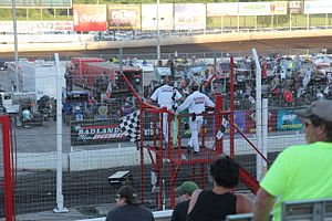 Badlands Motor Speedway - The flagstand, lower grandstands, and infield