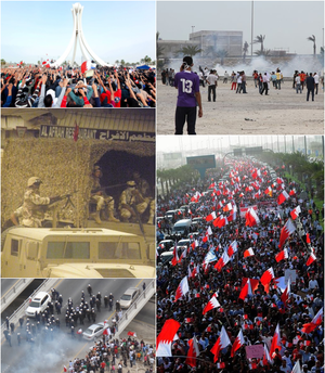"Bahraini protests of 2011–13 - Clockwise from top-left: Protesters raising their hands towards the Pearl Roundabout on 19 February 2011;  Teargas usage by security forces and clashes with protesters on 13 March; Over 100,000 Bahrainis taking part in the ""March of loyalty to martyrs"", on 22 February; clashes between security forces and protesters on 13 March; Bahraini armed forces blocking an entrance to a Bahraini village."