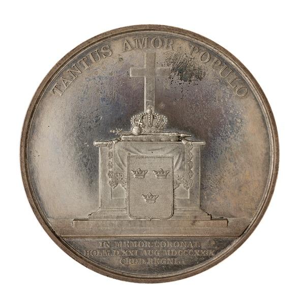 File:Baksida av medalj med bild av regalier på ett altare, 1829 - Skoklosters slott - 99621.tif