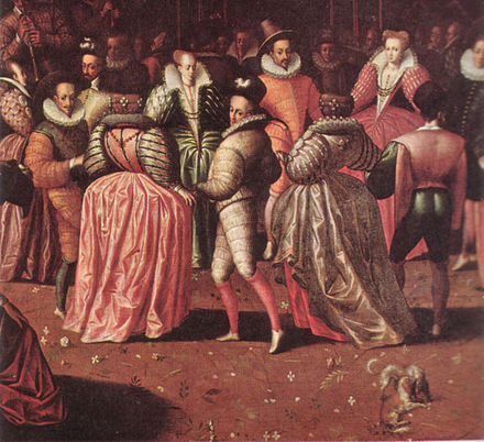 Ball at the Court of Henry III (detail), Franco-Flemish school, c. 1582. Ball Henri III.jpg