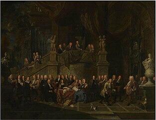 Ontvangst van burgemeesterJan Karel de Cordes als hoofdman van de Jonge Voetboog in de gildekamer